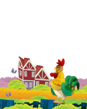 Cartoon farm scene with animal chicken bird having fun on white background with space for text - illustration for children Foto de archivo - 134424620