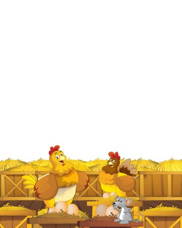 Cartoon farm scene with animal chicken bird having fun on white background with space for text - illustration for children Foto de archivo - 134424702
