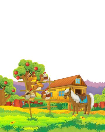 Cartoon farm scene with animal chicken bird having fun on white background with space for text - illustration for children Foto de archivo - 134424721