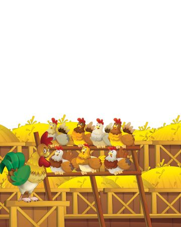 Cartoon farm scene with animal chicken bird having fun on white background with space for text - illustration for children Foto de archivo - 134424722