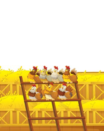 Cartoon farm scene with animal chicken bird having fun on white background with space for text - illustration for children Foto de archivo - 134424739