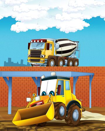 cartoon scene with digger excavator and concrete mixer or loader on construction site - illustration for children