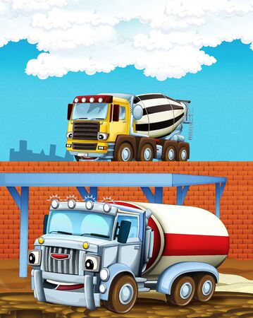 cartoon scene with some industry car and concrete mixer on construction site - illustration for children Stockfoto