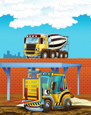 cartoon scene with some industry car and concrete mixer on construction site - illustration for children Stock Photo