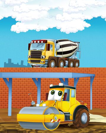 cartoon scene with industry cars on construction site - illustration for children Stock Photo