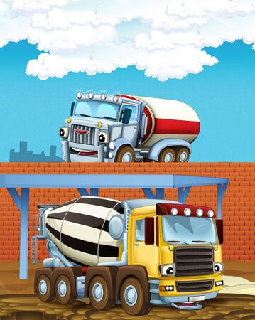 cartoon scene with industry cars on construction site - illustration for children Stok Fotoğraf