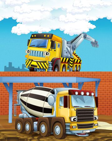 cartoon scene with industry cars on construction site - illustration for children Stockfoto