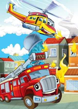 cartoon stage with different machines for firefighting helicopter and fire truck colorful scene illustration for children Фото со стока