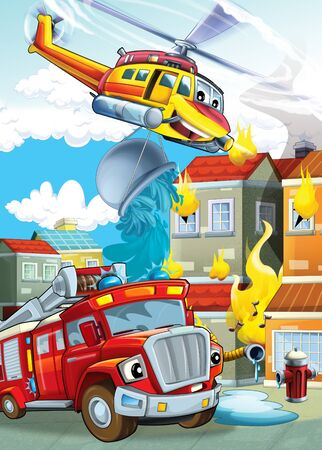 cartoon stage with different machines for firefighting helicopter and fire truck colorful scene illustration for children 版權商用圖片