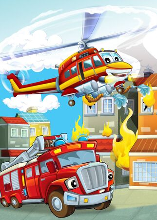 cartoon scene with different fire fighter machines helicopter and fire brigade truck illustration for children