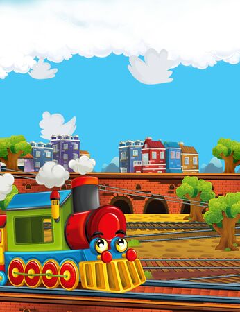 Cartoon funny looking steam train on the train station near the city - illustration for children