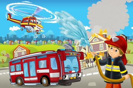 cartoon stage with different machines for firefighting colorful and cheerful scene with fireman - illustration for children Фото со стока