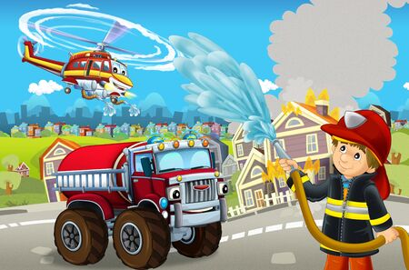cartoon stage with different machines for firefighting colorful and cheerful scene with fireman - illustration for children 版權商用圖片
