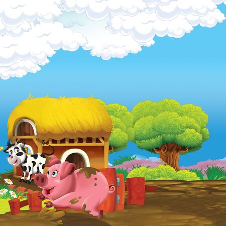 cartoon scene with pig and cow having fun on the farm - illustration for children