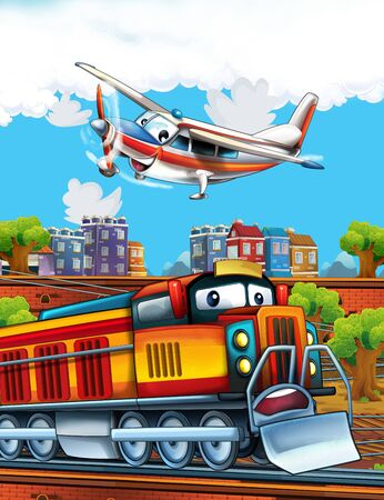 Cartoon funny looking steam train on the train station near the city and flying plane - illustration for children Banco de Imagens