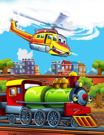 Cartoon funny looking steam train on the train station near the city and flying emergency helicopter - illustration for children