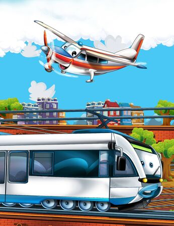 Cartoon funny looking train on the train station near the city and flying plane - illustration for children