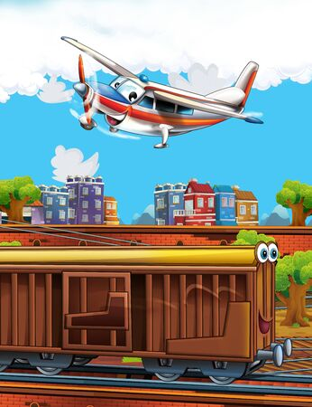 Cartoon funny look train wagon on station near the city and flying plane - illustration for children Banco de Imagens
