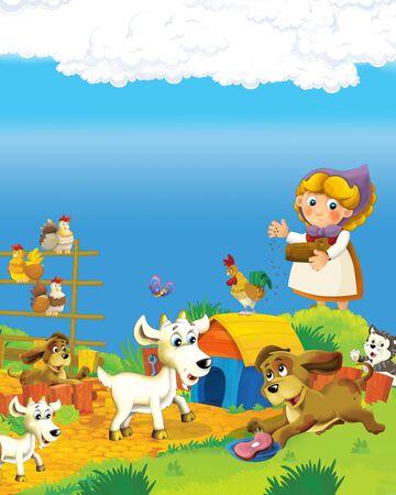 Escena de dibujos animados con mujer granjera feliz en la ilustración del rancho de la granja para los niños