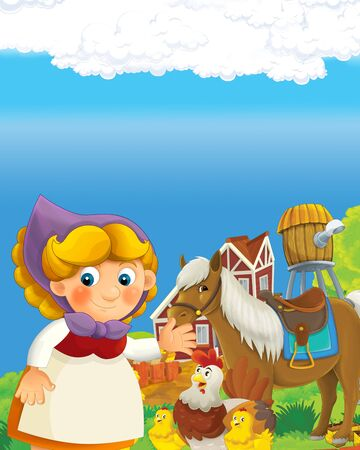 cartoon scene with happy farmer woman on the farm ranch illustration for the children