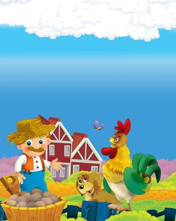 Cartoon-Szene mit glücklichem Bauernmann auf der Farm Ranch Illustration für die Kinder Standard-Bild