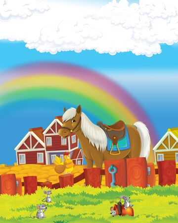 cartoon scene with life on the farm with horse and cat - illustration for the children