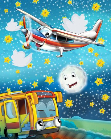 happy and funny cartoon bus looking and smiling driving through the city and plane flying - illustration for children 版權商用圖片
