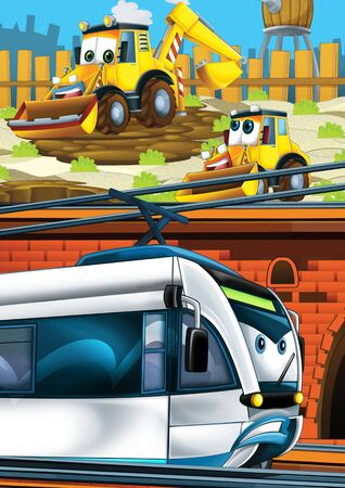 Cartoon funny looking train on the train station near the city and excavator digger car driving - illustration for children Banco de Imagens