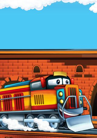 Cartoon funny looking train on the train station near the city with space for text - illustration for children