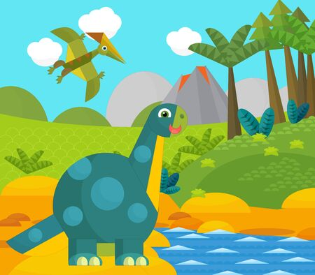 Cartoon happy dinosaur near some river and volcano - illustration for children
