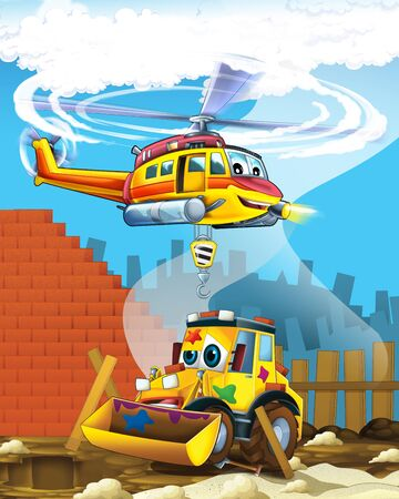 cartoon scene with industry car excavator digger on construction site and flying helicopter - illustration for children