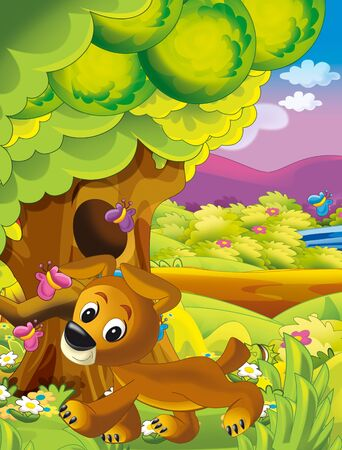 cartoon happy and funny scene with dog in the park having fun - illustration for children Stock fotó - 135476300