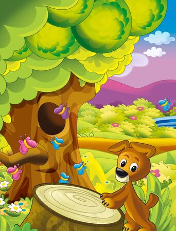 cartoon happy and funny scene with dog in the park having fun - illustration for children Stock fotó - 135476313
