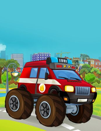 cartoon scene with fireman vehicle on the road - illustration for children Фото со стока
