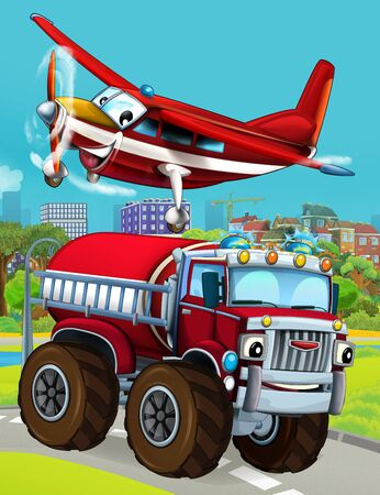 cartoon scene with fireman vehicle on the road driving through the city and plane flying over - illustration for children