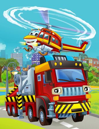 cartoon scene with fireman vehicle on the road driving through the city and helicopter flying over - illustration for children