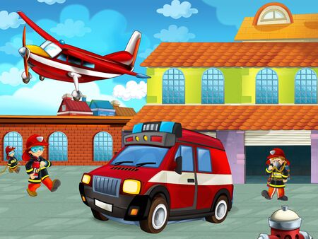 cartoon scene with fireman car vehicle on the road near the fire station with firemen - illustration for children Фото со стока