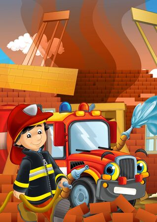 cartoon stage with fireman near building and brave firetruck is helping colorful illustration for children