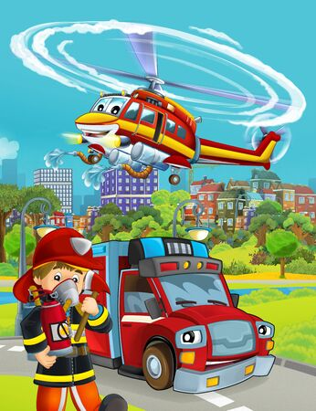 cartoon scene with fire brigade car vehicle on the road and fireman worker - illustration for children