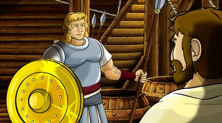 cartoon scene with roman or greek ancient character inside wooden ship chamber with golden shield illustration for children Archivio Fotografico - 136543178