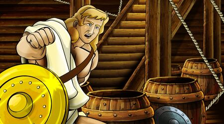 cartoon scene with roman or greek ancient character inside wooden ship chamber with golden shield illustration for children Archivio Fotografico - 136543179