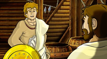 cartoon scene with roman or greek ancient character inside wooden ship chamber with golden shield illustration for children Archivio Fotografico - 136543182