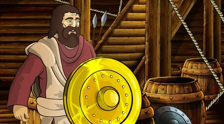 cartoon scene with roman or greek ancient character inside wooden ship chamber with golden shield illustration for children Archivio Fotografico - 136543183