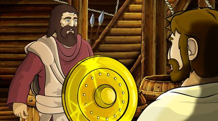 cartoon scene with roman or greek ancient character inside wooden ship chamber with golden shield illustration for children Archivio Fotografico - 136543184