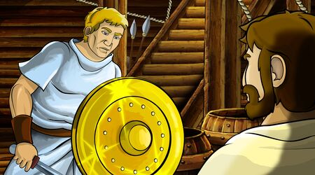 cartoon scene with roman or greek ancient character inside wooden ship chamber with golden shield illustration for children Archivio Fotografico - 136543186