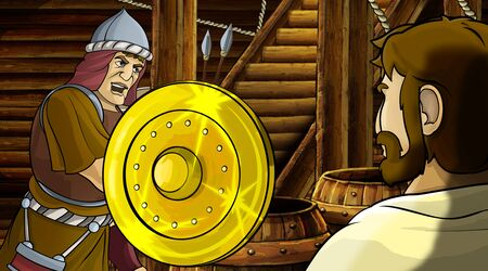 cartoon scene with roman or greek ancient character inside wooden ship chamber with golden shield illustration for children Archivio Fotografico - 136543188
