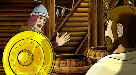 cartoon scene with roman or greek ancient character inside wooden ship chamber with golden shield illustration for children Archivio Fotografico - 136543190