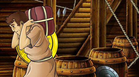 cartoon scene with roman or greek ancient character inside wooden ship chamber with golden shield illustration for children Archivio Fotografico - 136543193