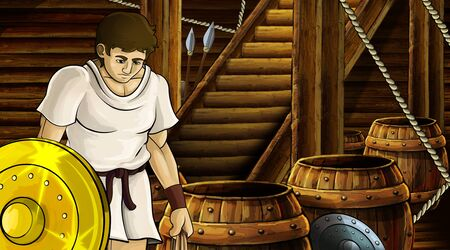 cartoon scene with roman or greek ancient character inside wooden ship chamber with golden shield illustration for children Archivio Fotografico - 136594780