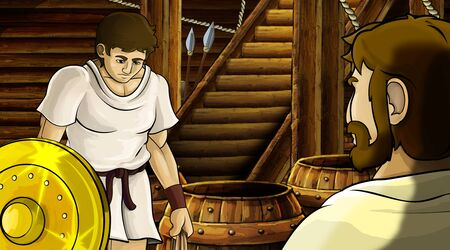 cartoon scene with roman or greek ancient character inside wooden ship chamber with golden shield illustration for children Archivio Fotografico - 136594781